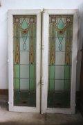 アール・デコのステンドガラスのペアウインドウ